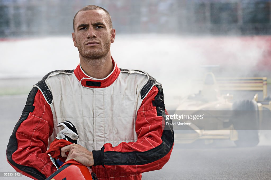 Racecar Driver Leaving Racecar With Mechanical Breakdown : Stock Photo