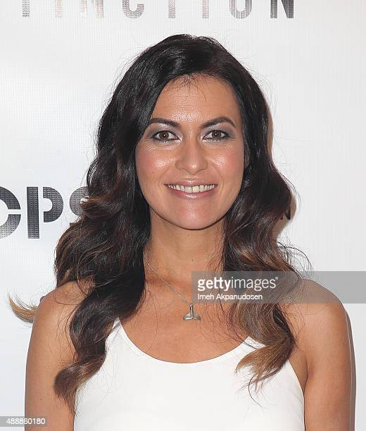 Racecar driver Leilani Munter attends the premiere of Discovery Channel's 'Racing Extinction' at The London West Hollywood on September 17 2015 in...