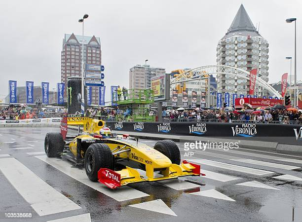 Racecar driver Vitali Petrov drives during the annual Bavaria City Racing in the city centre of Rotterdam Netherlands on August 22 2010 The day's...