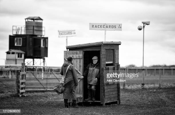 Racecard seller is seen during Point-to-Point Racing at High Easter on March 15, 2020 in Chelmsford, England.