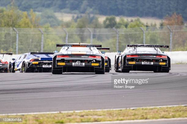 Racecars from behind during race 1 at the ADAC GT Masters Nuerburgring - Qualifying And Race at Nuerburgring on August 15, 2020 in Nuerburg, Germany.
