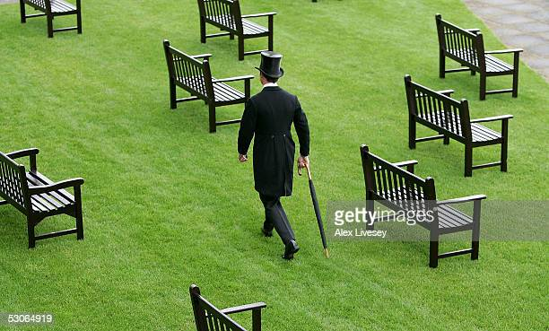 Racegoer arrives for the first day of Royal Ascot held at York Racecourse on June 14, 2005 in York, England.