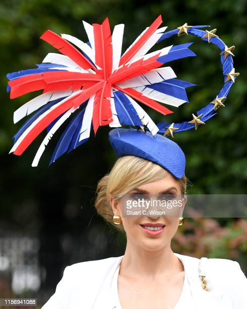 A racegoer attends day 2 of Royal Ascot at Ascot Racecourse on June 19 2019 in Ascot England