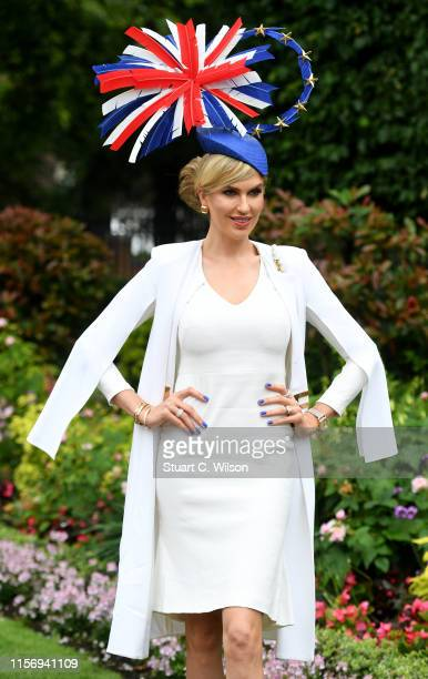 Racegoer attends day 2 of Royal Ascot at Ascot Racecourse on June 19, 2019 in Ascot, England.