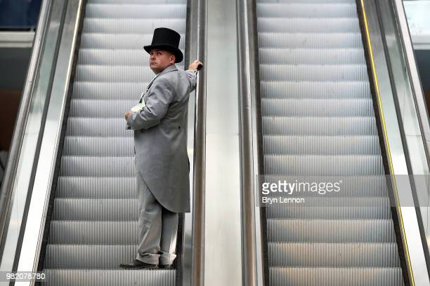 A racegoer attends day 5 of Royal Ascot at Ascot Racecourse on June 23 2018 in Ascot England