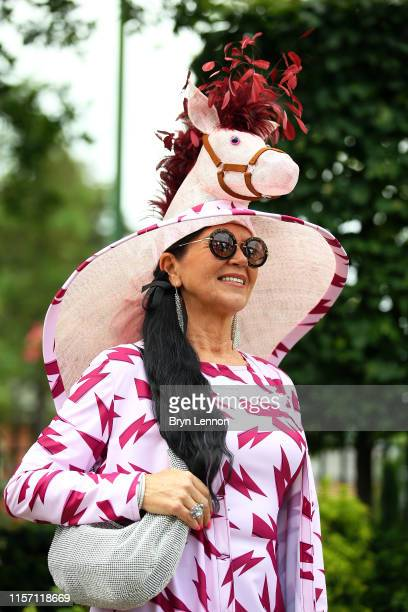 Racegoer attends day three of Royal Ascot at Ascot Racecourse on June 20, 2019 in Ascot, England.