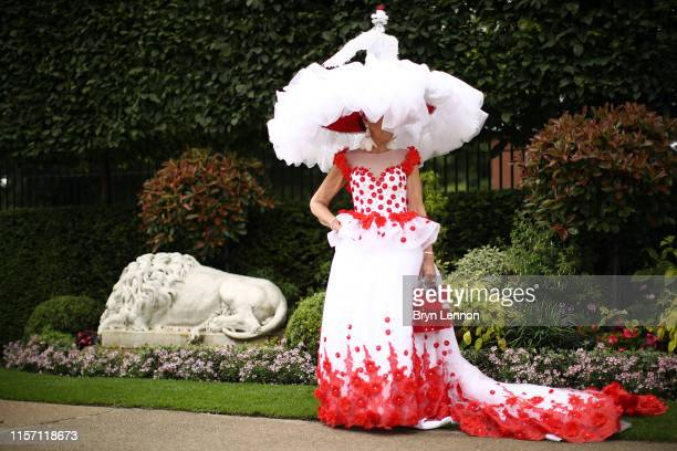A racegoer attends day three of Royal Ascot at Ascot Racecourse on June 20 2019 in Ascot England
