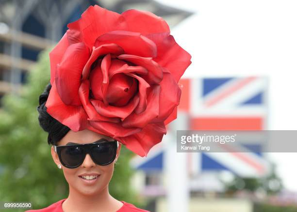 A racegoer attends Ladies Day at Royal Ascot 2017 at Ascot Racecourse on June 22 2017 in Ascot England