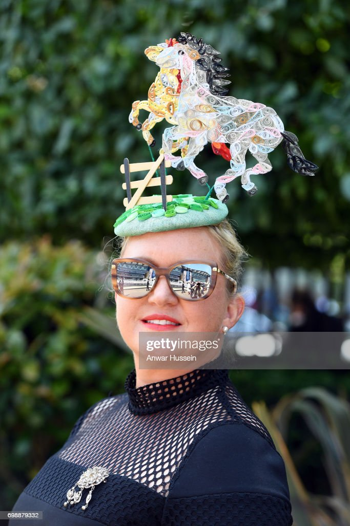 A racegoer attends the first day off Royal Ascot 2017 at Ascot Racecourse on June 20, 2017 in Ascot, England.