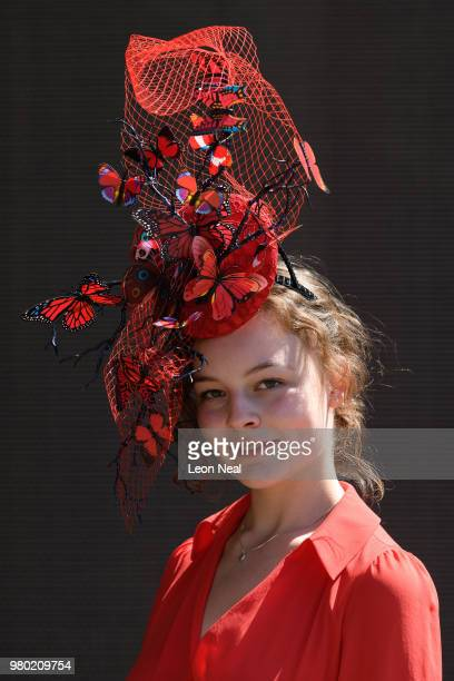 Racegoer displays her hat during Royal Ascot Day 3 at Ascot Racecourse on June 21, 2018 in Ascot, United Kingdom. Royal Ascot is Britain's most...