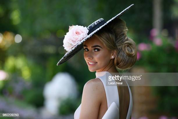 Racegoer Emily London poses for photographs during Royal Ascot Day 3 at Ascot Racecourse on June 21 2018 in Ascot United Kingdom Royal Ascot is...