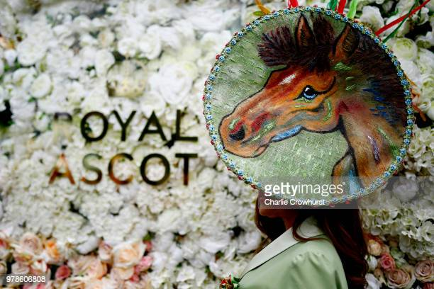 A racegoer hat detail attends day 1 of Royal Ascot at Ascot Racecourse on June 19 2018 in Ascot England