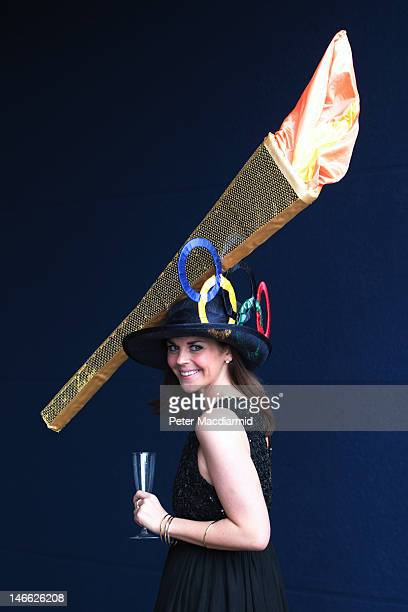 Racegoer Laura Nelson wears an Olympic torch themed hat at Royal Ascot on Ladies Day on June 21 2012 in Ascot England Ladies Day is traditionally the...