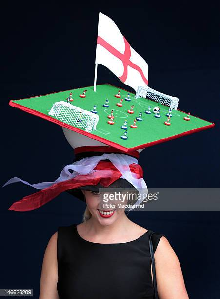 Racegoer Melissa Shedon wears a football themed hat at Royal Ascot on Ladies Day on June 21 2012 in Ascot England Ladies Day is traditionally the...