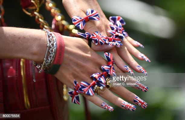 A racegoer nail details attends Royal Ascot 2017 at Ascot Racecourse on June 23 2017 in Ascot England