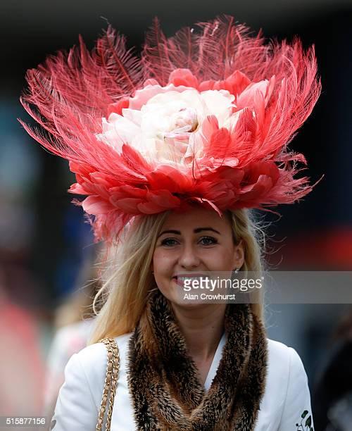 A racegoer on Ladies Day at Cheltenham racecourse on March 16 2016 in Cheltenham England