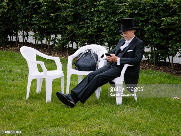 Racegoer relaxes during day three of Royal Ascot at Ascot Racecourse on June 20, 2019 in Ascot, England.