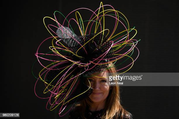 Racegoer Sally Tringham poses for photographs during Royal Ascot Day 3 at Ascot Racecourse on June 21 2018 in Ascot United Kingdom Royal Ascot is...