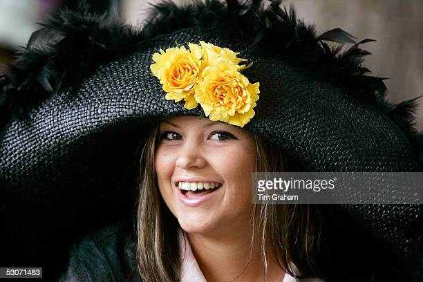 Racegoer wearing a typical Ascot fashion hat attends the second day of Royal Ascot 2005 at York Racecourse on June 15, 2005 in York, England. One of...