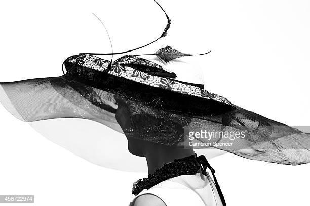 A racegoer wears a fascinator on Victoria Derby Day at Flemington Racecourse on November 1 2014 in Melbourne Australia