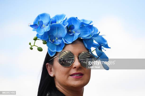 Racegoer wears an elaborate hat for Ladies Day during Royal Ascot Day 3 at Ascot Racecourse on June 21, 2018 in Ascot, United Kingdom. Royal Ascot is...