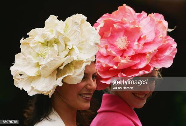 Racegoers arrive on Ladies Day at York Racecourse on June 16 2005 at York England Today was the third day of The Royal Meeting which this year is...
