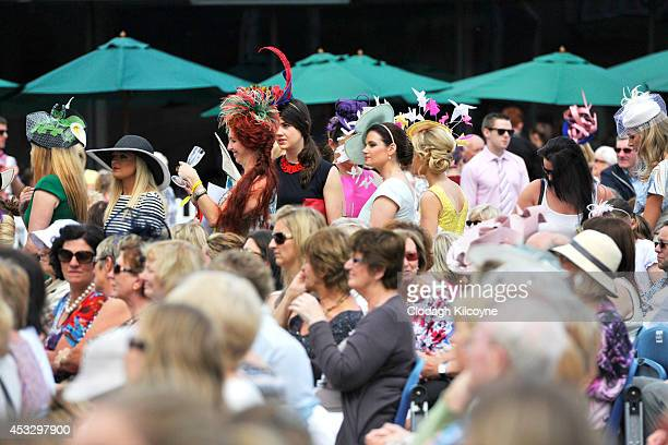 Racegoers attend Ladies Day at the Dublin Horse Show 2014 on August 7 2014 in Dublin Ireland