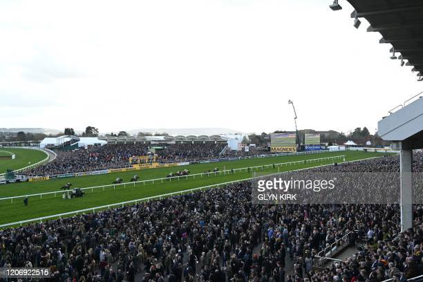 Racegoers attend the JCB Triumph Hurdle race during the final day of the Cheltenham Festival horse racing meeting at Cheltenham Racecourse in...