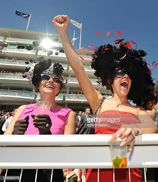 Racegoers cheer during a race on 'Ladies Day' on the first day of the Epsom Derby Festival in Surrey southern England on June 3 2011 The Epsom Derby...