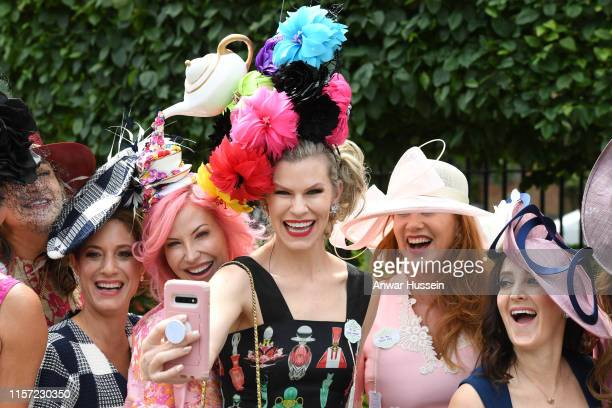 Racegoers enjoy Ladies Day at Royal Ascot on June 20, 2019 in Ascot, England.