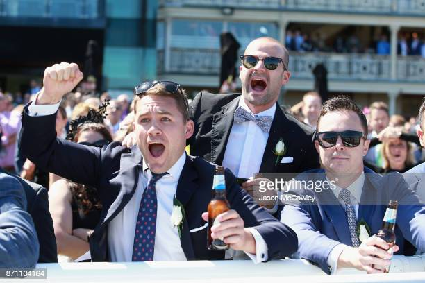 Racegoers enjoy the atmosphere during Melbourne Cup Day at Royal Randwick Racecourse on November 7 2017 in Sydney Australia