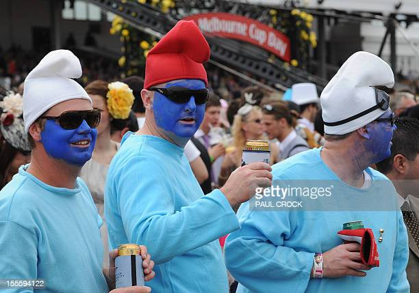 Racegoers' fashions come in all shapes and sizes to the Melbourne Cup day at the Flemington Racecourse in Melbourne on November 6 2012 RESTRICTED TO...