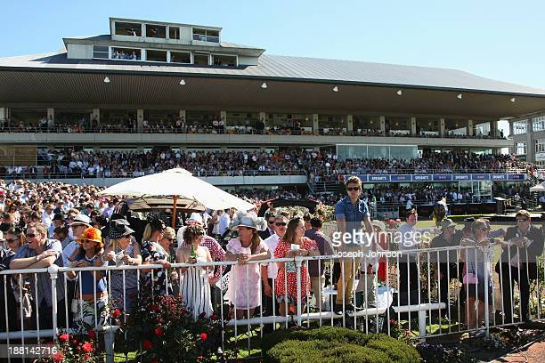 Racegoers gather in the lead up to the running of the Christchurch Casino New Zealand cup during the 150th New Zealand Cup Day meeting for Cup Week...