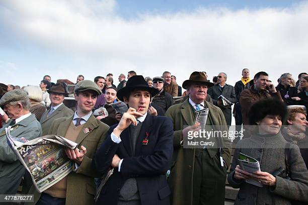 Racegoers look at horses outside the weighing room on the first day of the Cheltenham Festival on March 11 2014 in Cheltenham England Thousands of...