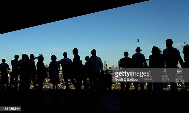 Racegoers make their way home after attending Emirates Stakes Day at Flemington Racecourse on November 5, 2011 in Melbourne, Australia.