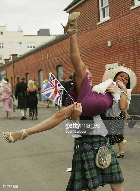 Racegoers make their way home after Ladies' Day the third day of Royal Ascot at the Ascot Racecourse on June 22 2006 in Berkshire England The event...
