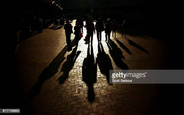 Racegoers make their way home following 2017 Stakes Day at Flemington Racecourse on November 11 2017 in Melbourne Australia