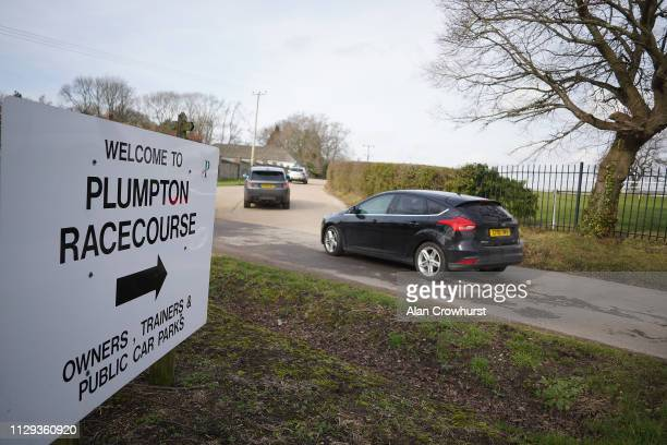 Racegoers make their way to the car park due to Equine Influenza there has been no racing for six days at Plumpton Racecourse on February 13 2019 in...