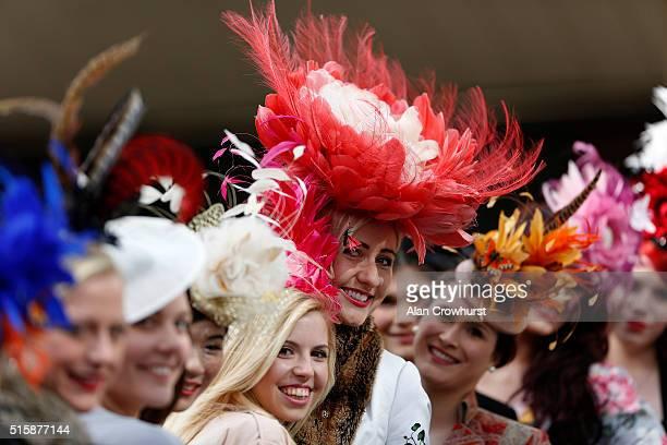 Racegoers on Ladies Day at Cheltenham racecourse on March 16 2016 in Cheltenham England