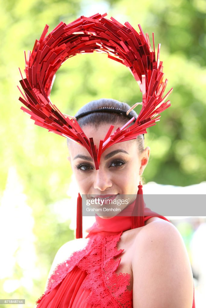 Racegoers pose on Kennedy Oaks Day at Flemington Racecourse on November 9, 2017 in Melbourne, Australia.