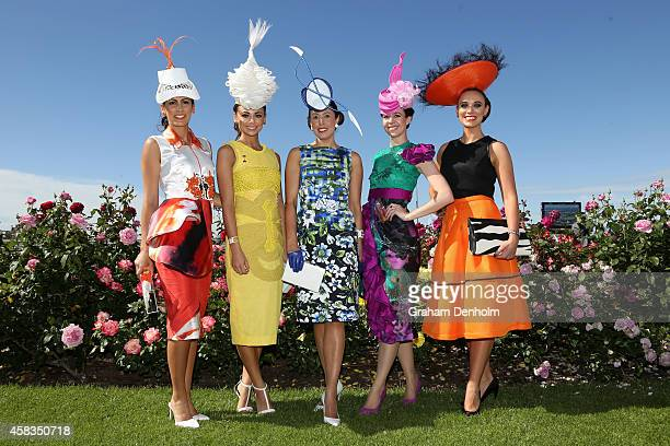 Racegoers pose on Melbourne Cup Day at Flemington Racecourse on November 4 2014 in Melbourne Australia