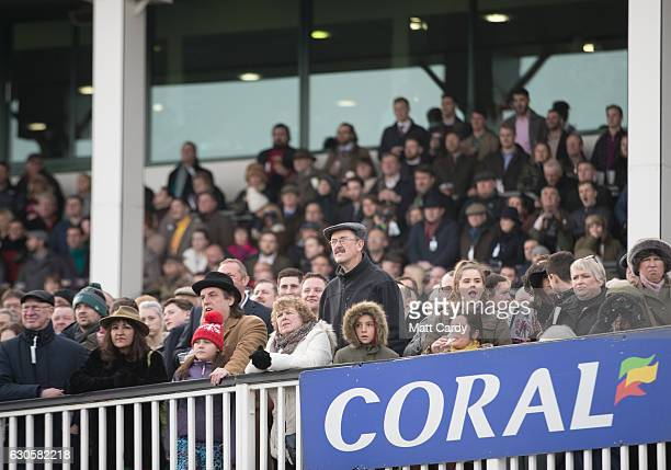 Racegoers react during the second race during the 2016 Coral Welsh Grand National at Chepstow Racecourse on December 27 2016 in Chepstow Wales...