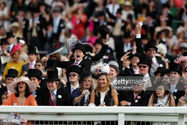 Racegoers react to The Queen Alexandra Stakes on day 5 of Royal Ascot at Ascot Racecourse on June 23, 2018 in Ascot, England.