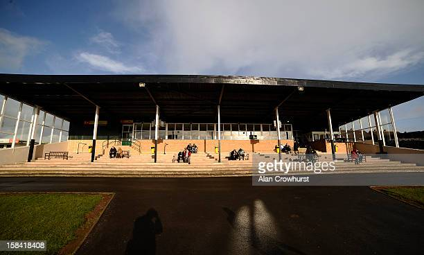 Racegoers wait for the first race during the last meeting to be held at Hereford racecourse after 241 years of racing on December 16 2012 in Hereford...