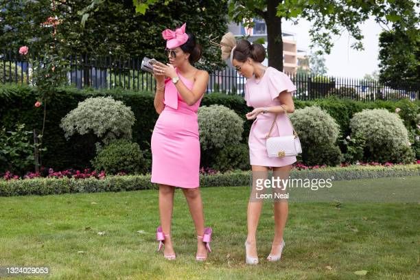 Race-goers wait to enter at Ascot Racecourse on June 17, 2021 in Ascot, England. Gold Cup Day at the annual Royal Ascot race meeting has been...