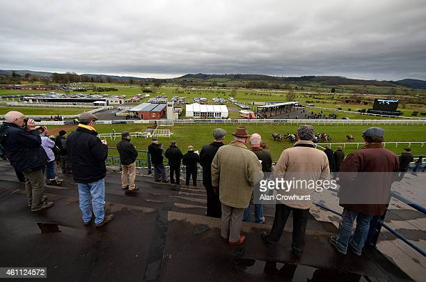 Racegoers watch from the top of the grandstand at Ludlow racecourse on January 07 2015 in Ludlow England