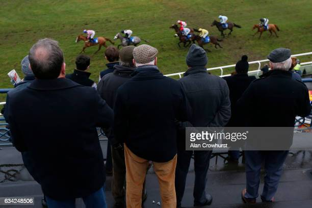 Racegoers watch the action from the top of the grandstand at Ludlow racecourse on February 8 2017 in Ludlow England