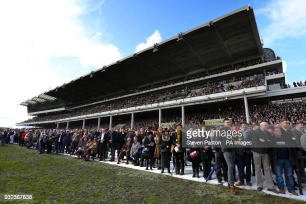 Racegoers watch the JLT Novices' Chase during St Patrick's Thursday of the 2018 Cheltenham Festival at Cheltenham Racecourse
