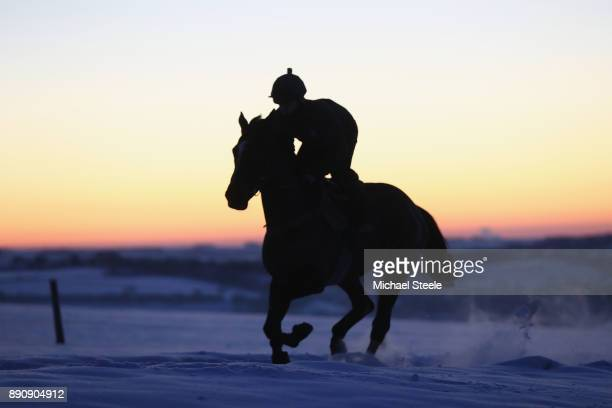 Racehorse and rider from the Nigel TwistonDavies stables during first lot on the polytrack gallops in heavy snow conditions on December 12 2017 in...