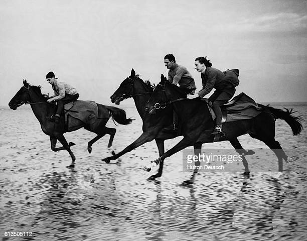 Racehorses Old Flame Handley and Crindle Crag all owned by Mr W Bargh are exercised on the beach at Heysham England 1938